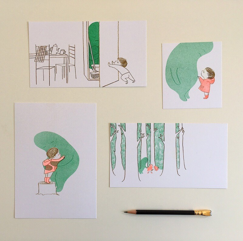 When Sadness Comes to Call - Set of 4 Small Risograph Prints