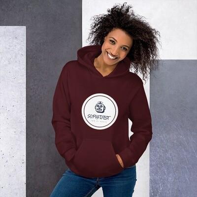SOPHFIFEST - Unisex Hoodie (black & maroon, lrg white logo)