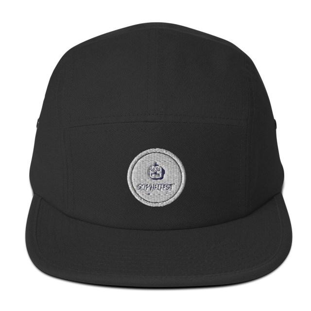 SOPHFIFEST - Five Panel Cap (black, sml white logo w/ border, embroidered)