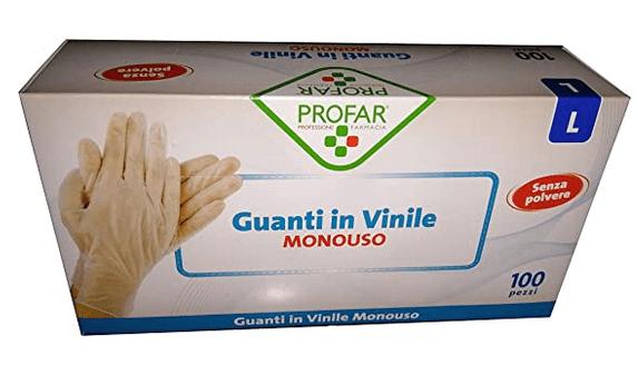 PROFAR, 100 guanti monouso in vinile tg. S senza polvere