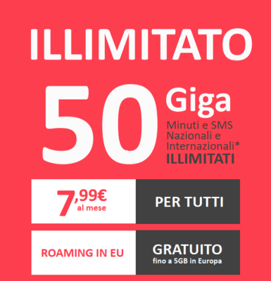 NtMobile Promo Sim minuti e sms ILLIMITATI + 50Gb_7.99€ + 9.99€ costo attivazione
