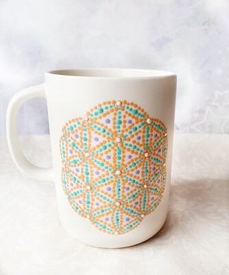 Ceramic Mug - White with Orange and Green