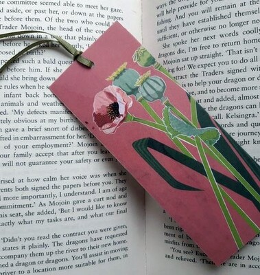 Bookmark - Illustrated Art - Poppies