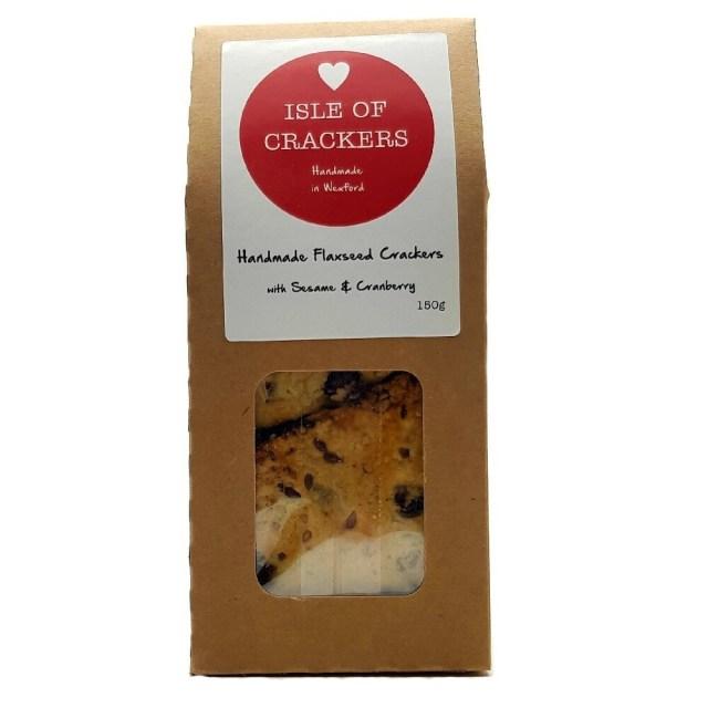Isle of Crackers Handmade Flaxseed Crackers Sesame & Cranberry 150g