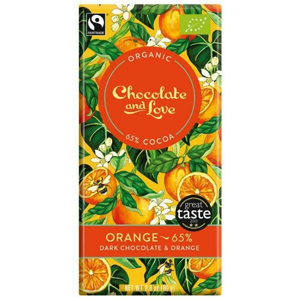 Chocolate & Love Organic Dark Choc & Orange 80g
