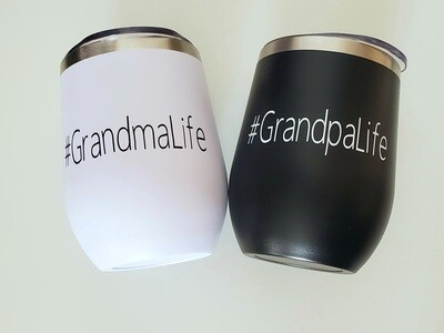 #GrandmaLife and #GrandpaLife Travel Coffee/Wine Tumblers   Pregnancy Announcement