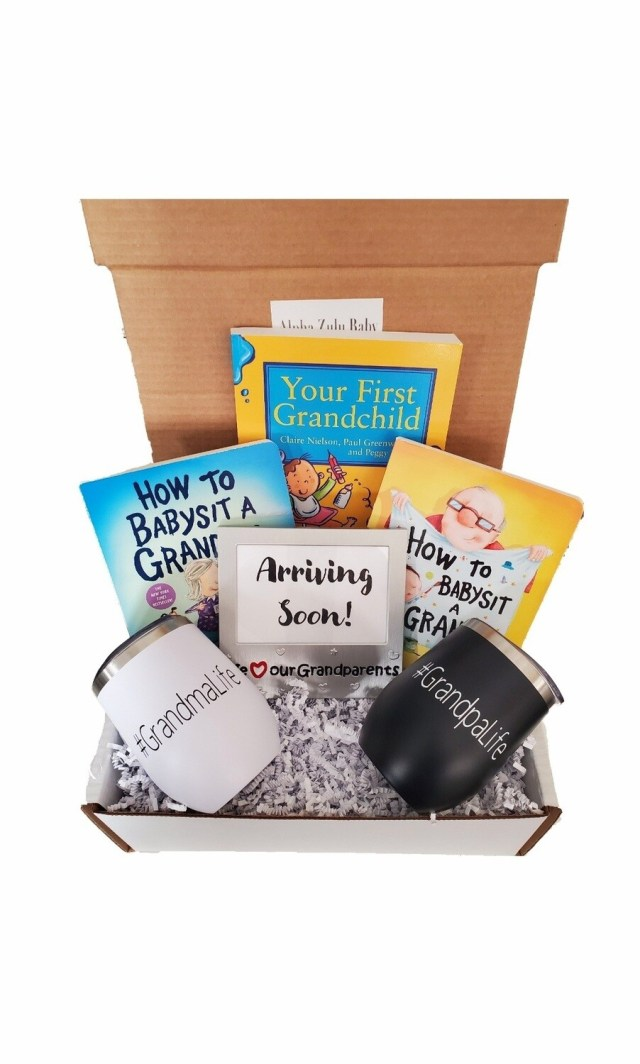 New Grandma and Grandpa Gift Set with Travel Coffee/Wine Tumblers | Pregnancy Announcement