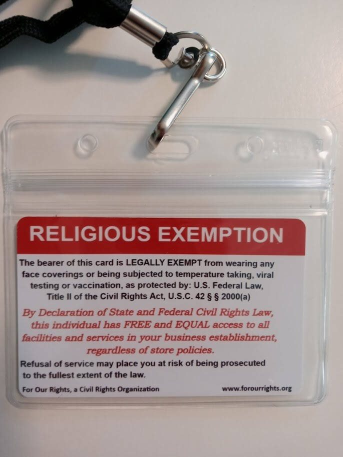 Religious Exemption Card
