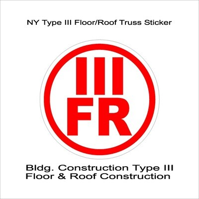 NY Type III Floor/Roof Truss Sticker