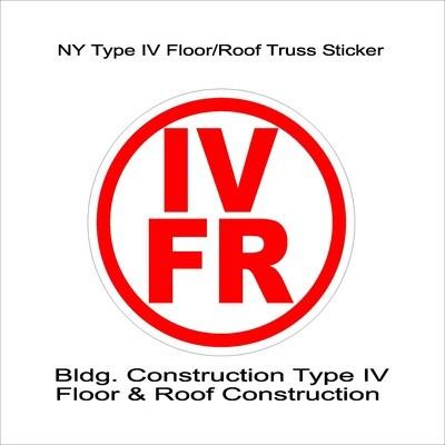 NY Type IV Floor/Roof Truss Sticker