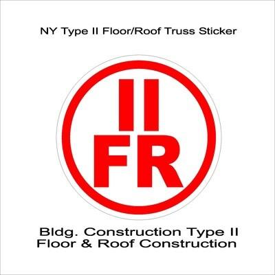 NY Type II Floor/Roof Truss Sticker