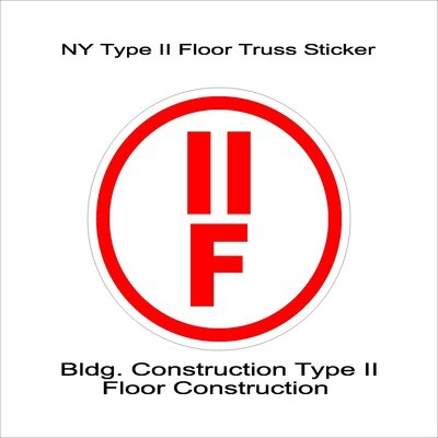 NY Type II Floor Truss Sticker