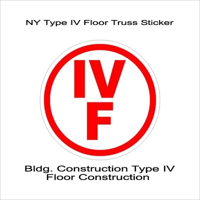 NY Type IV Floor Truss Sticker