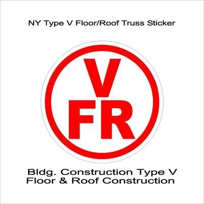 NY Type V Floor/Roof Truss Sticker