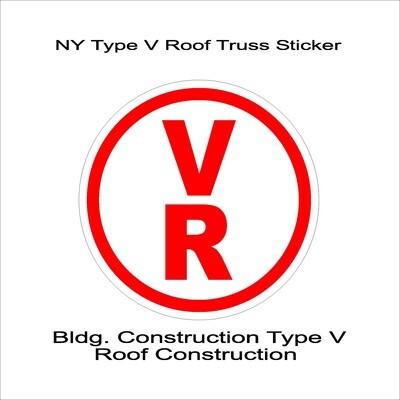 NY Type V Roof Truss Sticker