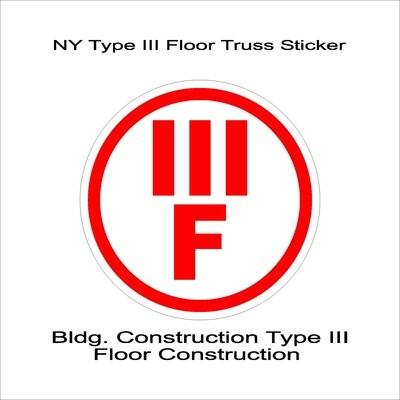 NY Type III Floor Truss Sticker