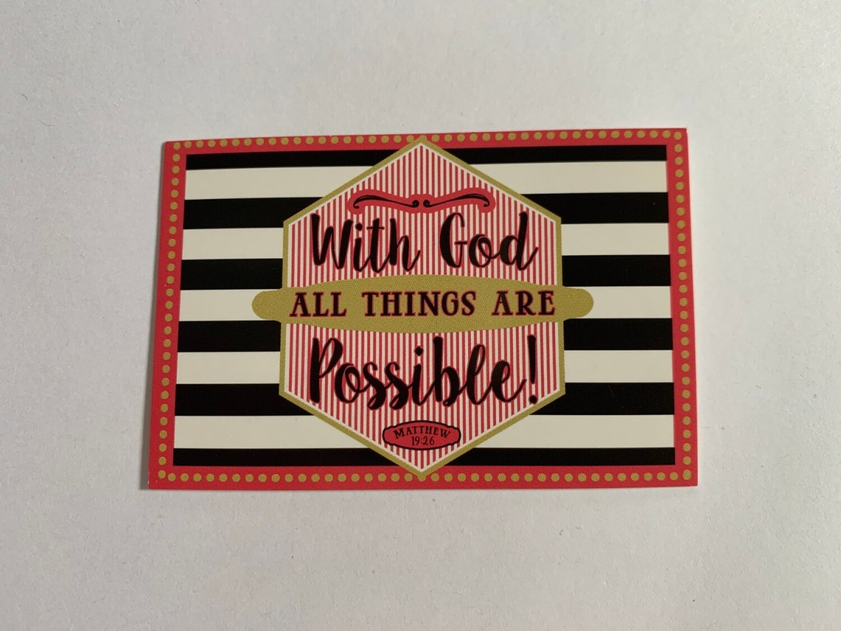 Pass It On - Matthew 19:26 (pink & black)