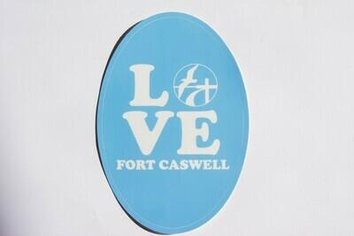 Light Blue LOVE Fort Caswell Sticker