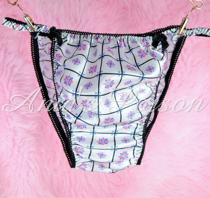 Sissy Silky Satin Mens Panties in Black Pink White Check Retro Print String bikini underwear