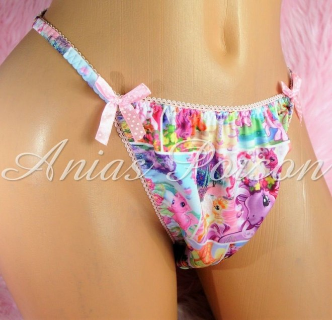 Rare Novelty Character print Spandex Stretch string bikini My Little Ponies Vintage Princess Panties
