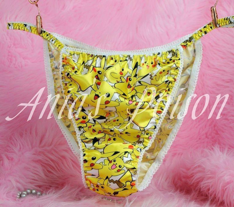 Ania's Poison MANties Pokemon Pikachu Character Print Super Rare 100% polyester string bikini sissy mens underwear panties