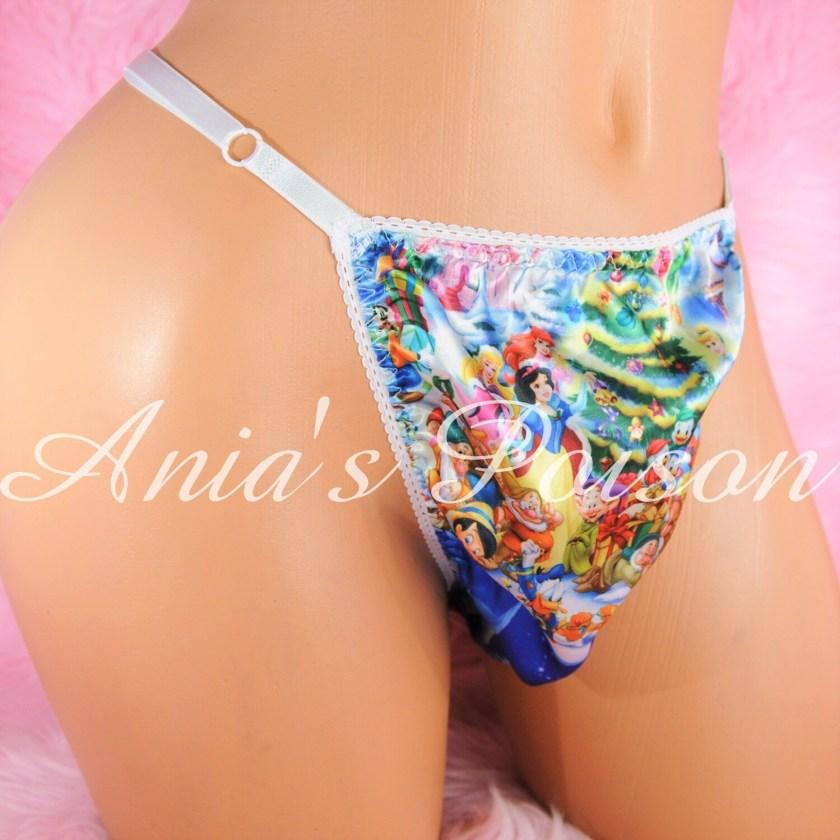 sissy thong SATIN Christmas Princess Cartoon Snowman Pooh sissy men's soft shiny Triangle T thong panties ADJUSTABLE sides underwear panties