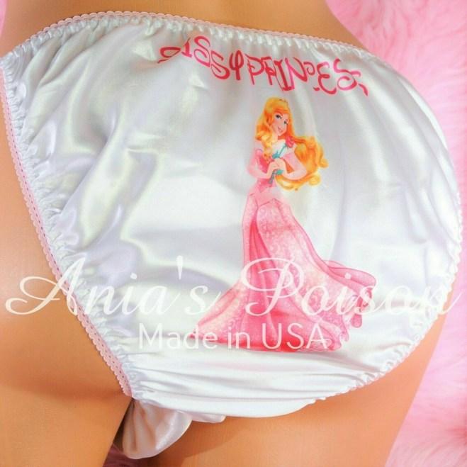 White Rare classic Aurora Sleeping Beauty Princess with animals, classic shiny Satin string bikini panties - Sissy Princess RARE