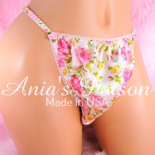 Ania's Poison Panties S - XXL Pink Girly Floral Rose Prints 100% polyester string bikini sissy mens underwear panties