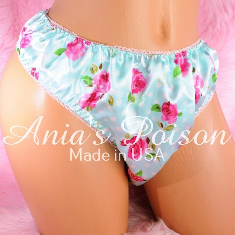 Anias Poison Full FLORAL colors bikini cut Soft satin lined SISSY panties for men MANTIES sz S - XXL