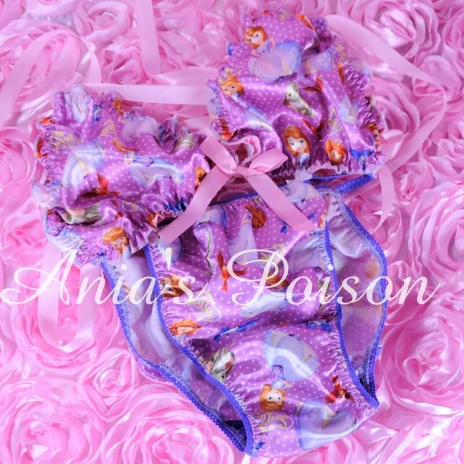 Ania's Poison MANties S - XXL Sophia Princess Prints Super Rare 100% polyester string bikini sissy mens underwear panties/ Bra / FULL Set