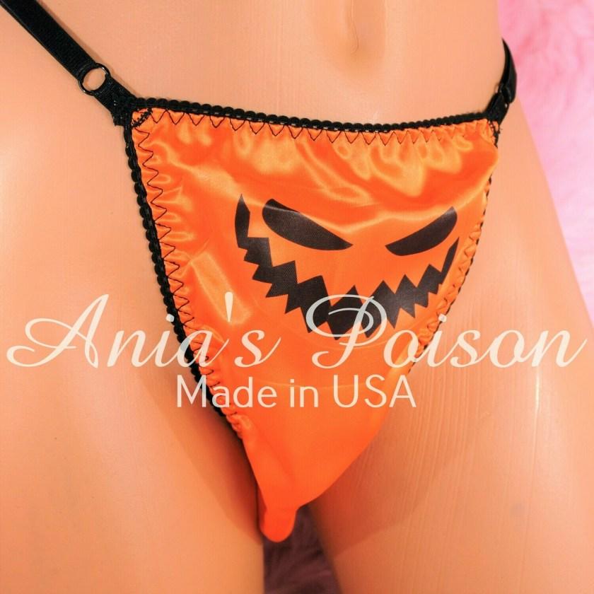 sissy thong HALLOWEEN Orange SATIN Jack-o-lantern sissy men's soft shiny Triangle T thong panties ADJUSTABLE sides underwear panties