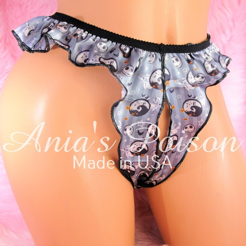 Anias Poison HALLOWEEN Unisex open crotch Crotchless butterfly Satin Jack Skellington Rare Character panties lingerie OS