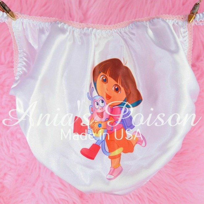 Rare Cute explorer girl Dora and Monkey shiny Satin string bikini Mens panties - Sissy Princess