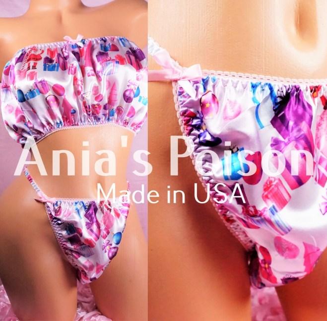 Ania's Poison Christmas Pink Gifts Cute Santa Print 100% polyester silky soft string bikini sissy mens underwear panties