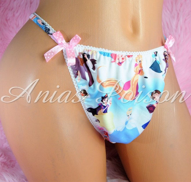 Rare Novelty Character print Spandex Stretch string bikini Blue Multi Princess Panties