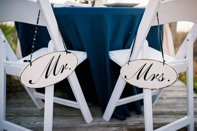 Mr and Mrs Oval Signs - Set