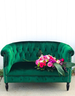 Jane- Emerald Green Velvet Settee