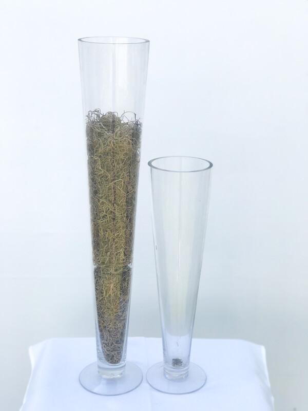 "Oversized Champagne Flute Glass Vase 16"" Tall"