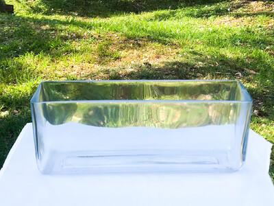 """Long Rectangular Glass Vase 12"""""""