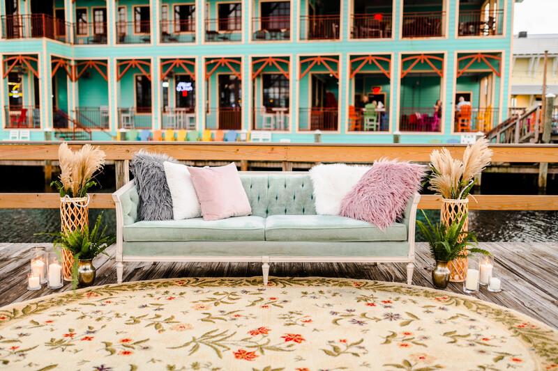 Nessie- Seafoam Green Vintage Couch