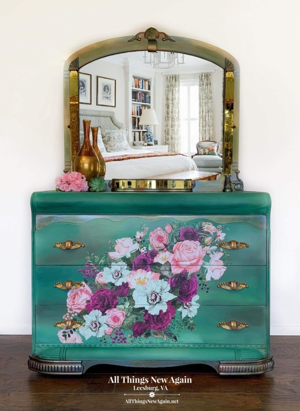 FURNITURE: Boho Green Dresser and Mirror