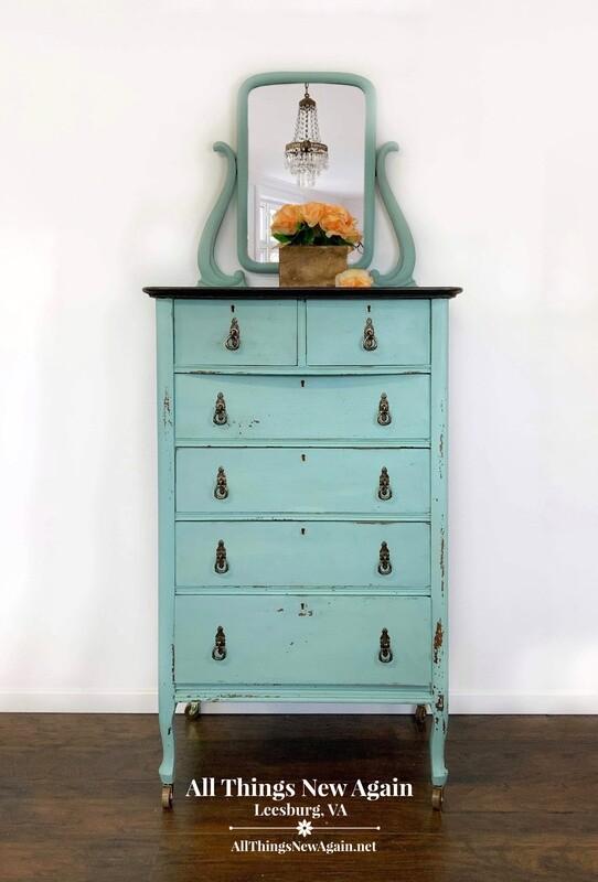 FURNITURE: Blue Dresser with Mirror