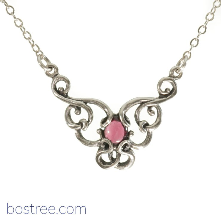 Victorian Necklace - Sterling Silver & Garnet