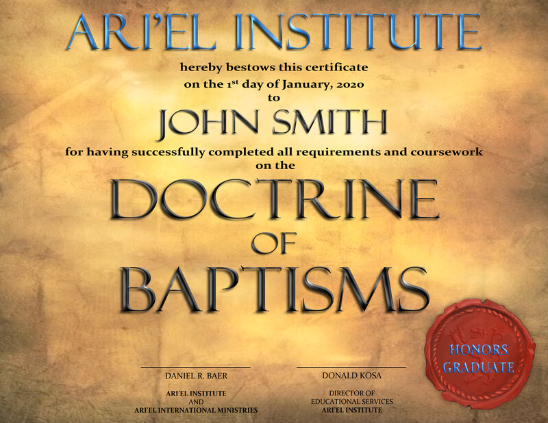 THE DOCTRINE OF BAPTISMS Online Class