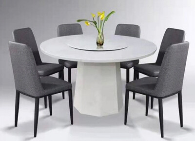 Custom Made Claire White Marble Dining Set