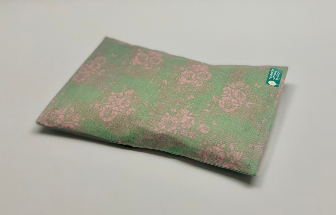 Kissen - Grün, pinke Rosen
