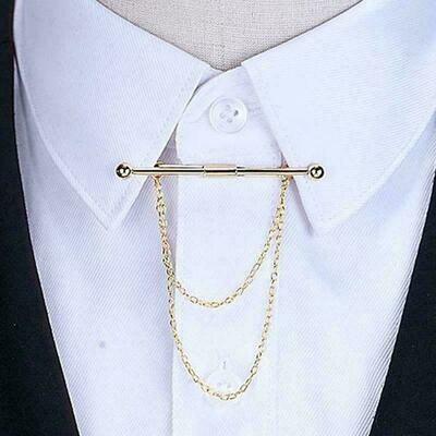 Mens Dress Tassle Shirt Chain Bar