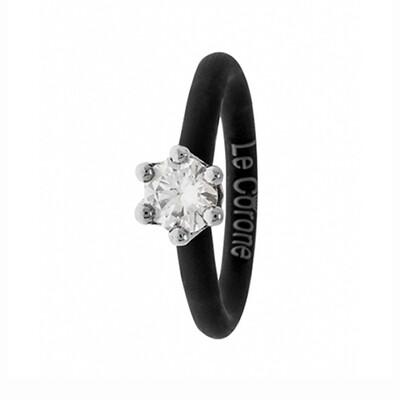 Solitare Ring Le Corone MINI, cz stone, 925 silver, adjustable silicone band