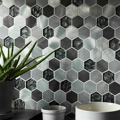 Hexagon Glass Metal Mosaic 30 x 30 cm