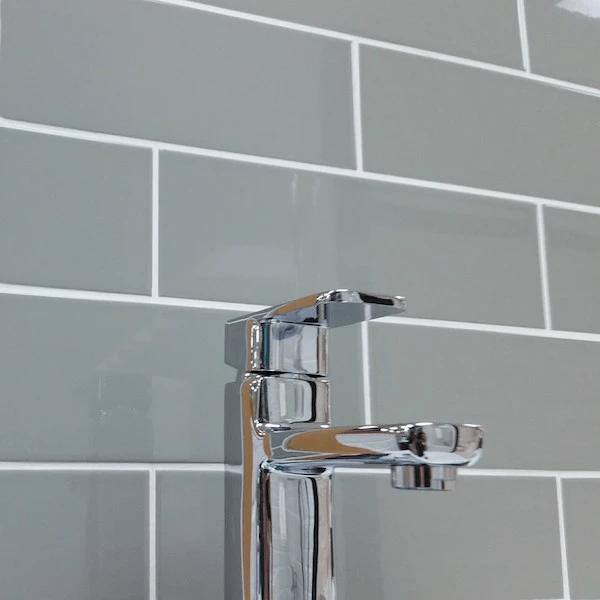 Gloss Grey Flat Ceramic Tiles 10 x 30 cm